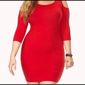 Red 🔥 Bodycon Dress with Cold Shoulder Sleeves